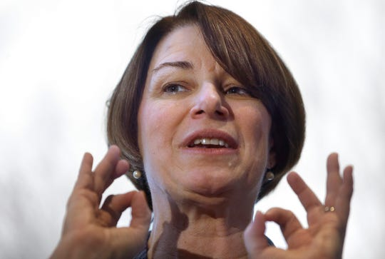 In this Feb. 24 photo, Sen. Amy Klobuchar, D-Minn., speaks to voters during a campaign stop at a home, in Nashua, N.H. Klobuchar supports legalization and believes states should have the right to determine how to handle marijuana regulation within their borders but hasn't signed on to New Jersey Sen. Cory Booker's legislation.