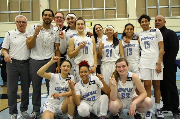 The Moorpark College women's basketball team celebrates its first CCCAA state tournament berth since 1997 on Saturday night at Raider Pavilion. The Raiders beat Glendale, 79-66.