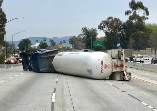 An overturned propane truck blocked Interstate 405 and Highway 101 Sunday near Sherman Oaks, causing delays that could impact motorists who use Highway 101 between Ventura and Los Angeles counties.