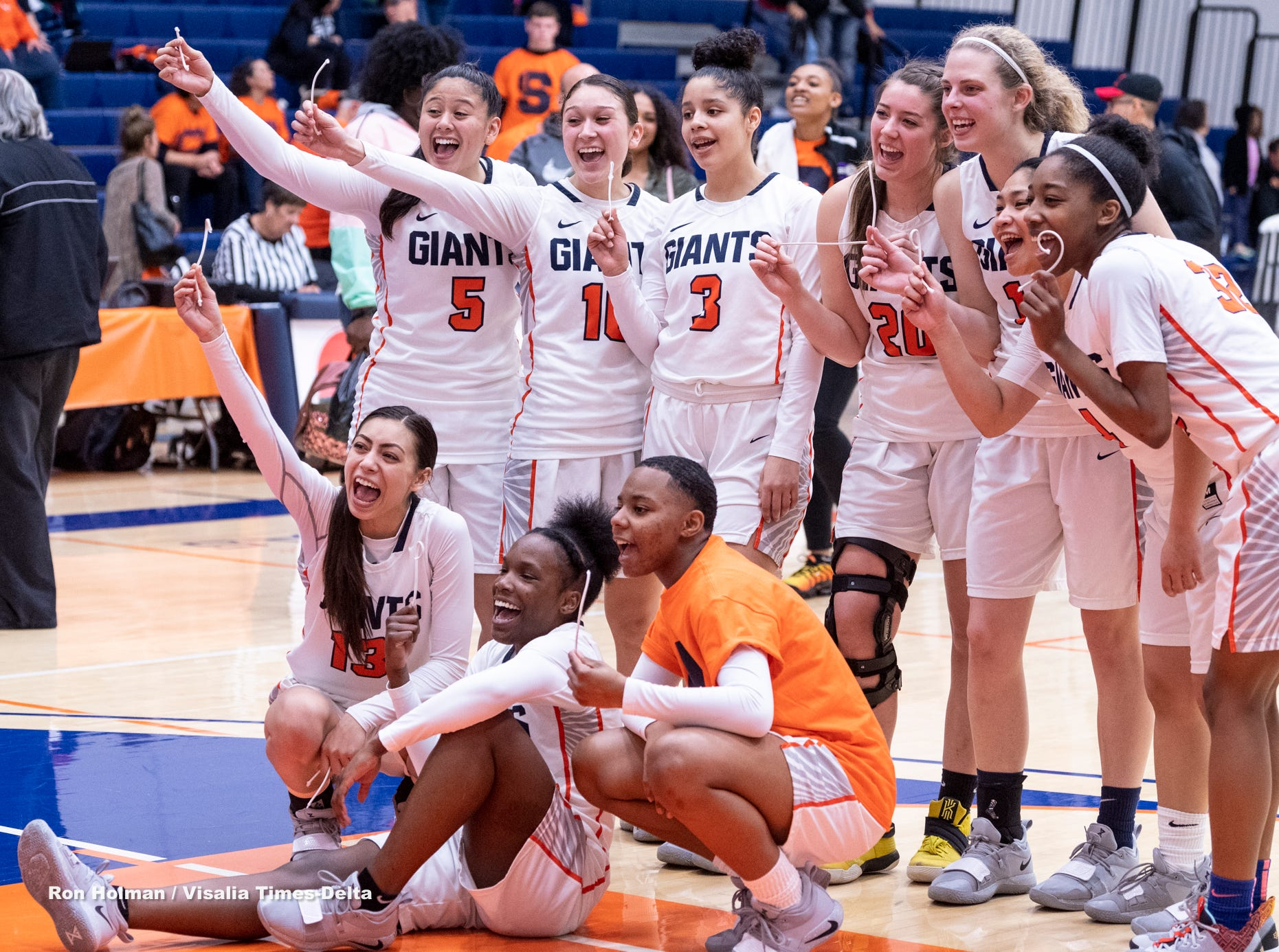 COS Women celebrate their win over San Francisco City College in a NorCal quarterfinal junior college basketball state playoff game on Saturday, March 9, 2019.