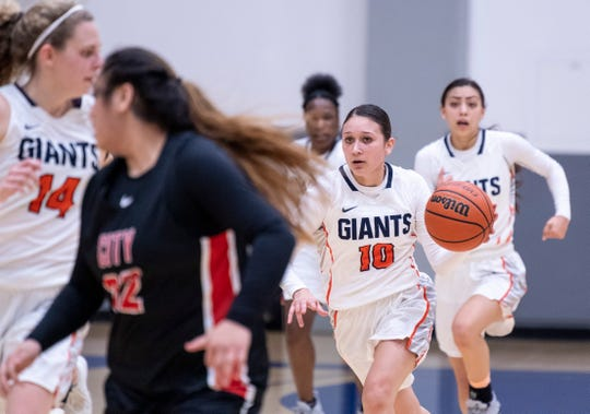 COS' Julianna Gutierrez brings the ball up against San Francisco City College in a NorCal quarterfinal junior college basketball state playoff game on Saturday, March 9, 2019.