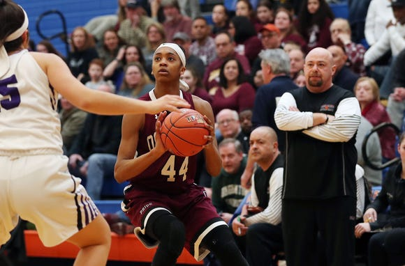 Ossining defeated Monroe-Woodbury 67-34 in the girls regional final at SUNY New Paltz Match 9, 2019.