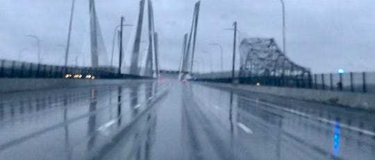 The Gov. Mario Cuomo Bridge was slick but snow free by 7:30 a.m., March 10.