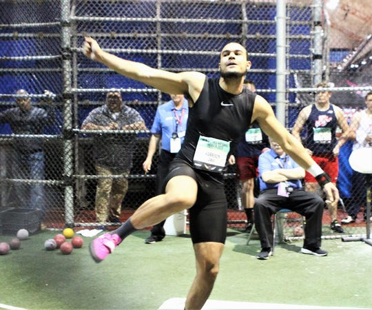 Ramapo's Anthony Harrison follows through after throwing the shot put during the 2019 New Balance Indoor Nationals.