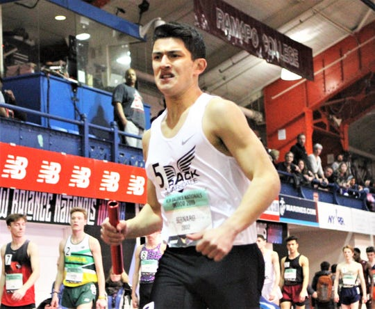 Nico Bernard runs anchor leg for Scarsdale's 4x800 relay team, which gained All-American status at the 2019 New Balance Indoor Nationals.