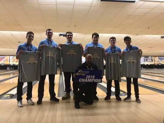 The Section 1 boys bowling team won the NYSPHSAA championship in Syracuse on Saturday, Mar. 9, 2019. The team consists of (from left): Paul Cirillo, Nick Varano, Tommy Chamberlain, Sean Eybers, Nick Perrone and Jacob Portem.
