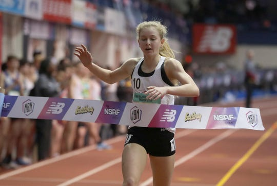 Katelyn Tuohy of North Rockland High School set a meet record and set the second all time fastest girls high school time on the two mile race during the New Balance Indoor Track & Field Nationals at The Balance Armory in Manhattan March 10, 2019. Tuohy won with a time of 9:15:05.