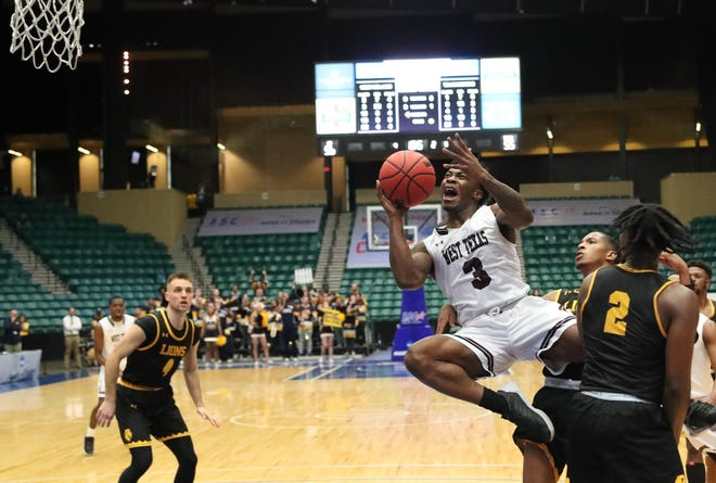 West Texas A&M's Brandon Hall scored 32 points to lead the Buffs to a 57-55 over A&M-Commerce in the LSC Men's Championship game Sunday.