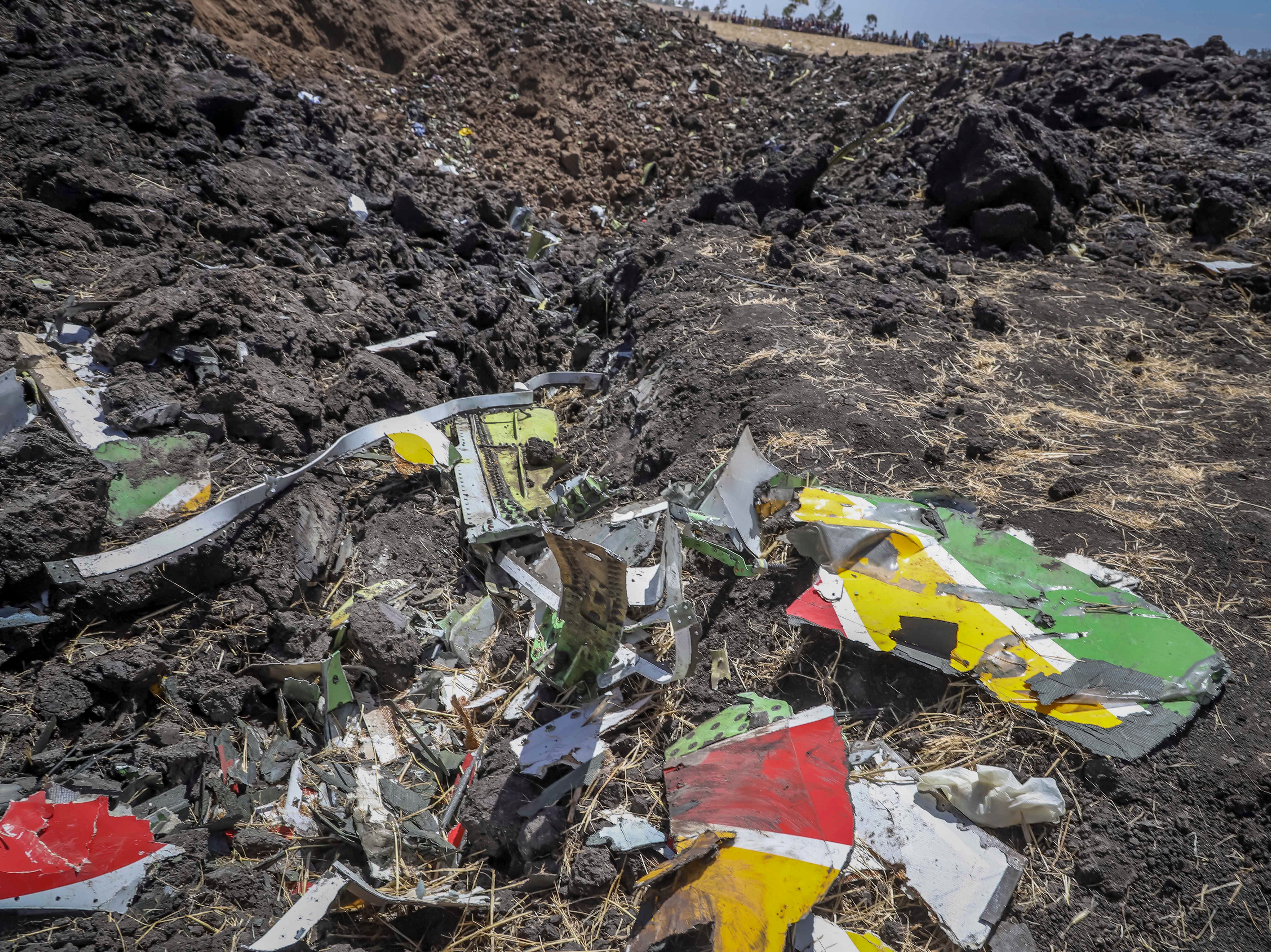 Debris at the crash site of Ethiopian Airlines Flight 302 that crashed shortly after takeoff.