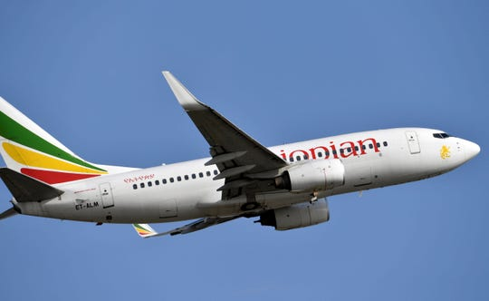 In this file photo taken on November 28, 2017, an Ethiopian Airline Boeing 737-700 aircraft takes off from Felix Houphouet-Boigny Airport in Abidjan. - An Ethiopian Airlines Boeing 737 crashed on March 10, 2019, en route from Addis Ababa to Nairobi with 149 passengers and eight crew believed to be on board, Ethiopian Airlines said as Ethiopia's prime minister offered condolences to passengers' families.