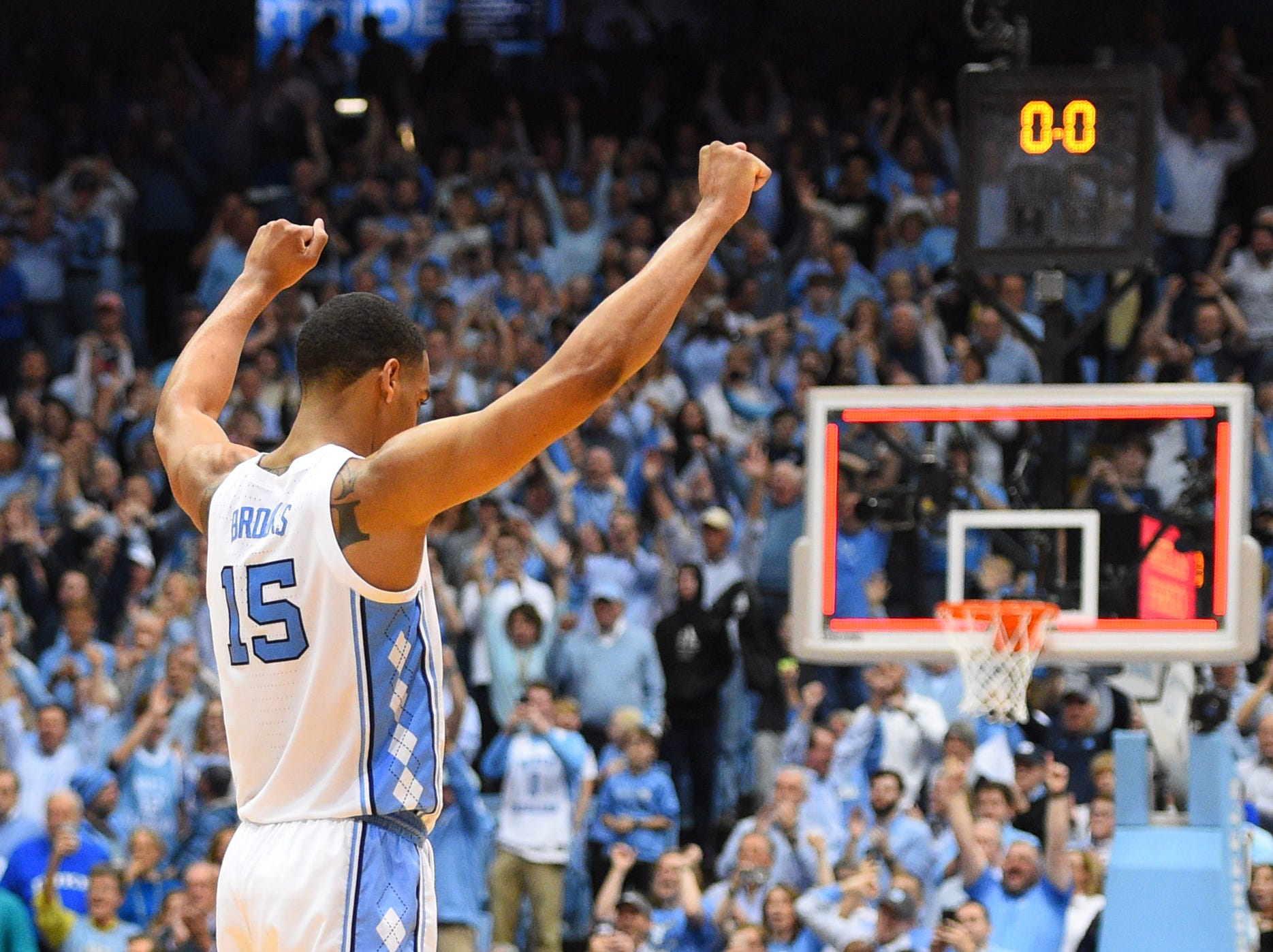 March 9: North Carolina forward Garrison Brooks celebrates the Tar Heels' win over Duke at the Dean E. Smith Center.