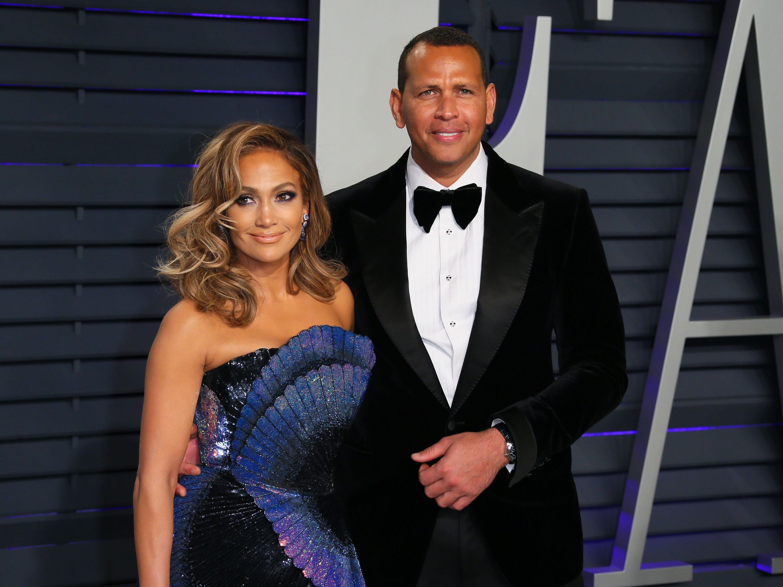 Jennifer Lopez and Alex Rodriguez in February.