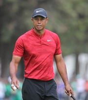 Tiger Woods reacts during the World Golf Championship Mexico 2019 at the Chapultepec Glof Club in Mexico City.
