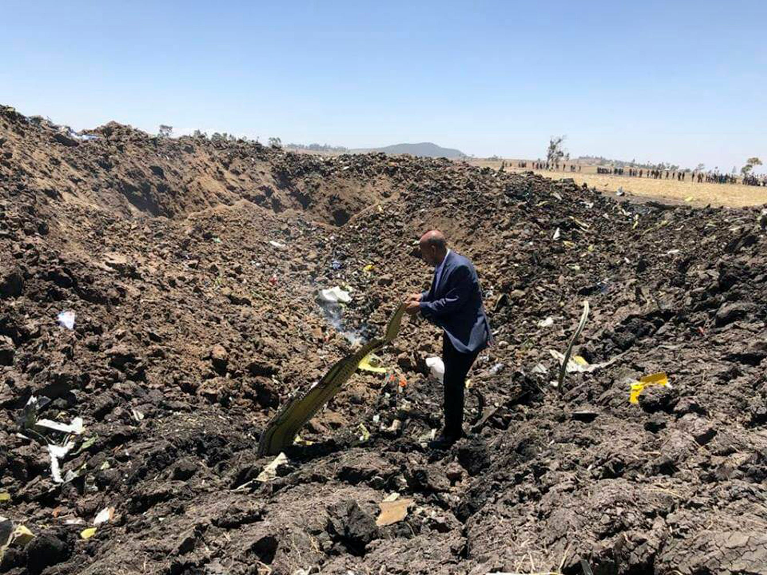 The CEO of Ethiopian Airlines, Tewolde Gebremariam, looks at the wreckage of the plane that crashed shortly after takeoff from Addis Ababa, Ethiopia.