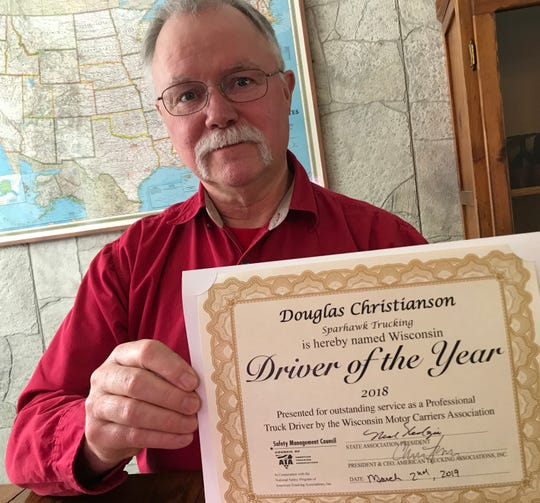 Doug Christianson of Saratoga has been named the 2018 Driver of the Year by the Wisconsin Motor Carriers Association.