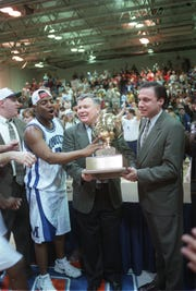 Monmouth coach Wayne Szoke and Jeff Franklin after winning the NEC Tournament in 2006.