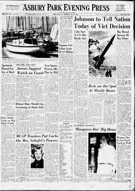In this edition of Wednesday, July 28, 1965, President Lyndon B. Johnson prepares to announce later in the day that 50,000 additional ground troops will be deployed to Vietnam and the number of young men drafted into military service will increase to 35,000 each month.