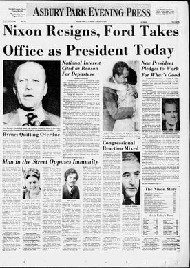 In the wake of the two-year Watergate scandal, President Richard M. Nixon becomes the first U.S. president to resign on Friday, Aug. 9, 1974, after facing the likelihood of impeachment and subsequent removal from office by Congress. Vice President Gerald R. Ford is sworn in as the 38th president of the United States.