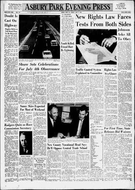 As the Jersey Shore prepares for a busy Fourth of July weekend, this edition of Friday, July 3, 1964, includes front page coverage from the day before of President Lyndon B. Johnson signing the Civil Rights Act of 1964 into law.