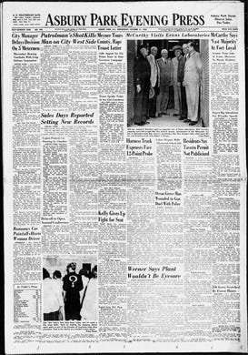 """Asbury Park Press edition of Wednesday, Oct. 21, 1953, one day after U.S. Sen. Joseph McCarthy, R-Wisconsin, toured Evans Signal Laboratory in Wall Township where he believed Communist agents had infiltrated the Army at the height of the """"Red Scare"""" in the 1950s."""