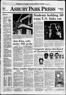 The start of the Iran hostage crisis is reported on the front page of the Asbury Park Press on Monday, Nov. 5, 1979.