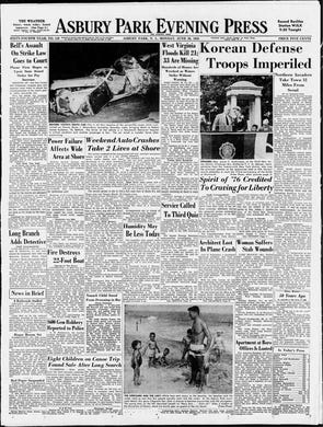 The Asbury Park Press reports on the start of the Korean War, which would ultimately kill an estimated 2.5 million people, including almost 40,000 American service members, in this edition from Monday, June 26, 1950.