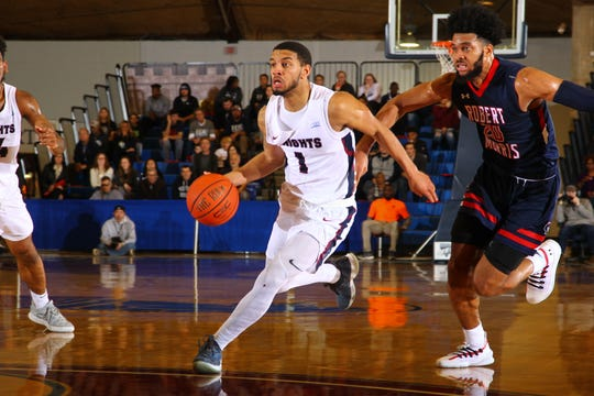 FDU guard Darnell Edge drives vs. Robert Morris