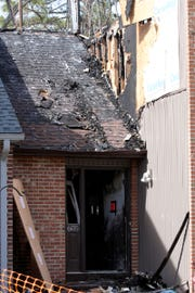 The front door at 605 Bounty Court in Toms River is shown Monday, March 11, 2019, after an early Saturday morning fire destroyed the home.  Emergency personnel was dispatched at 4:30 a.m. Saturday for smoke in a basement, but flames quickly spread throughout the structure.