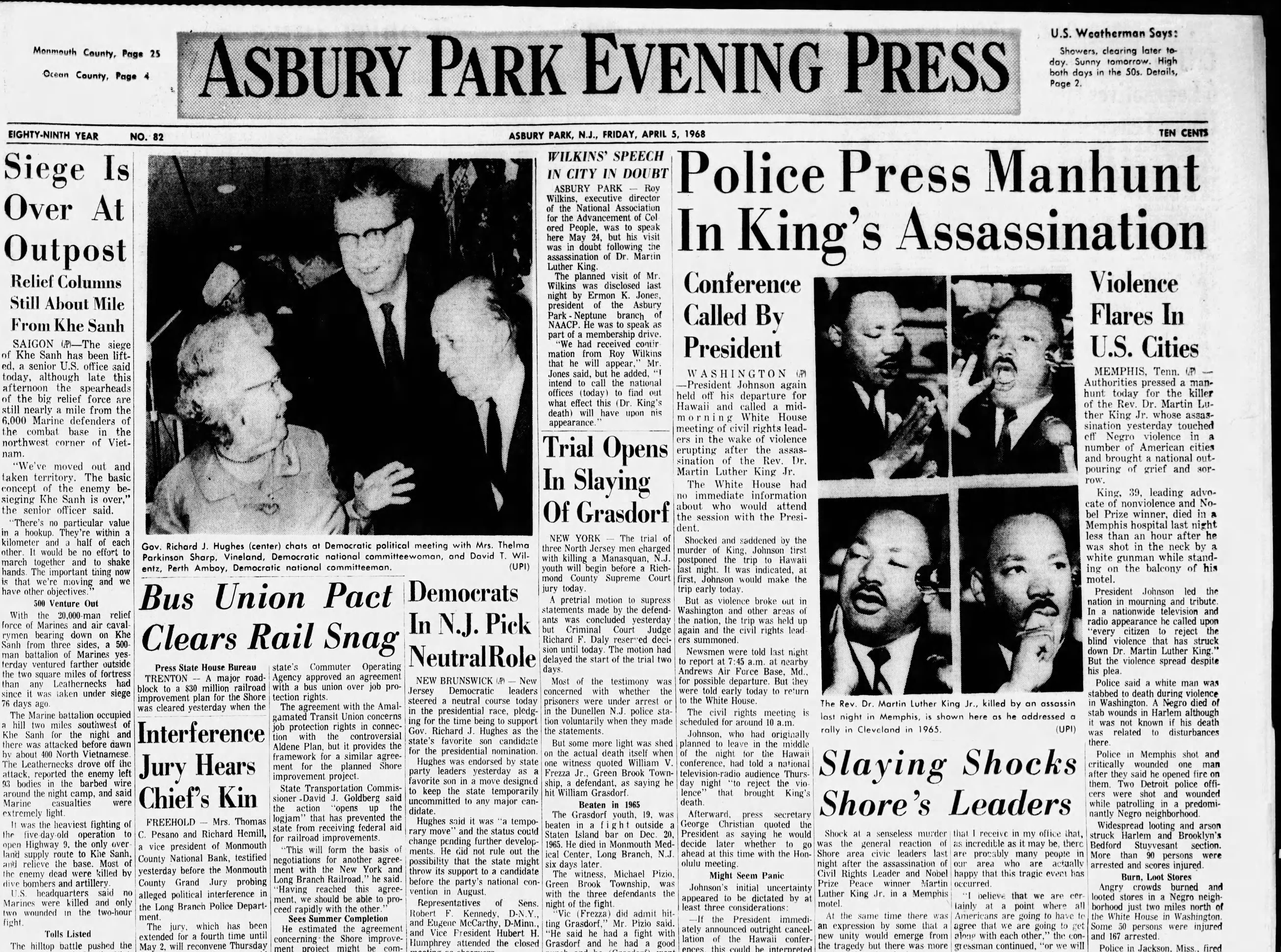 The assassination of Martin Luther King Jr. in Memphis, Tennessee and Shore reaction to his death is covered in the Friday, April 5, 1968 edition, the day after King's death.