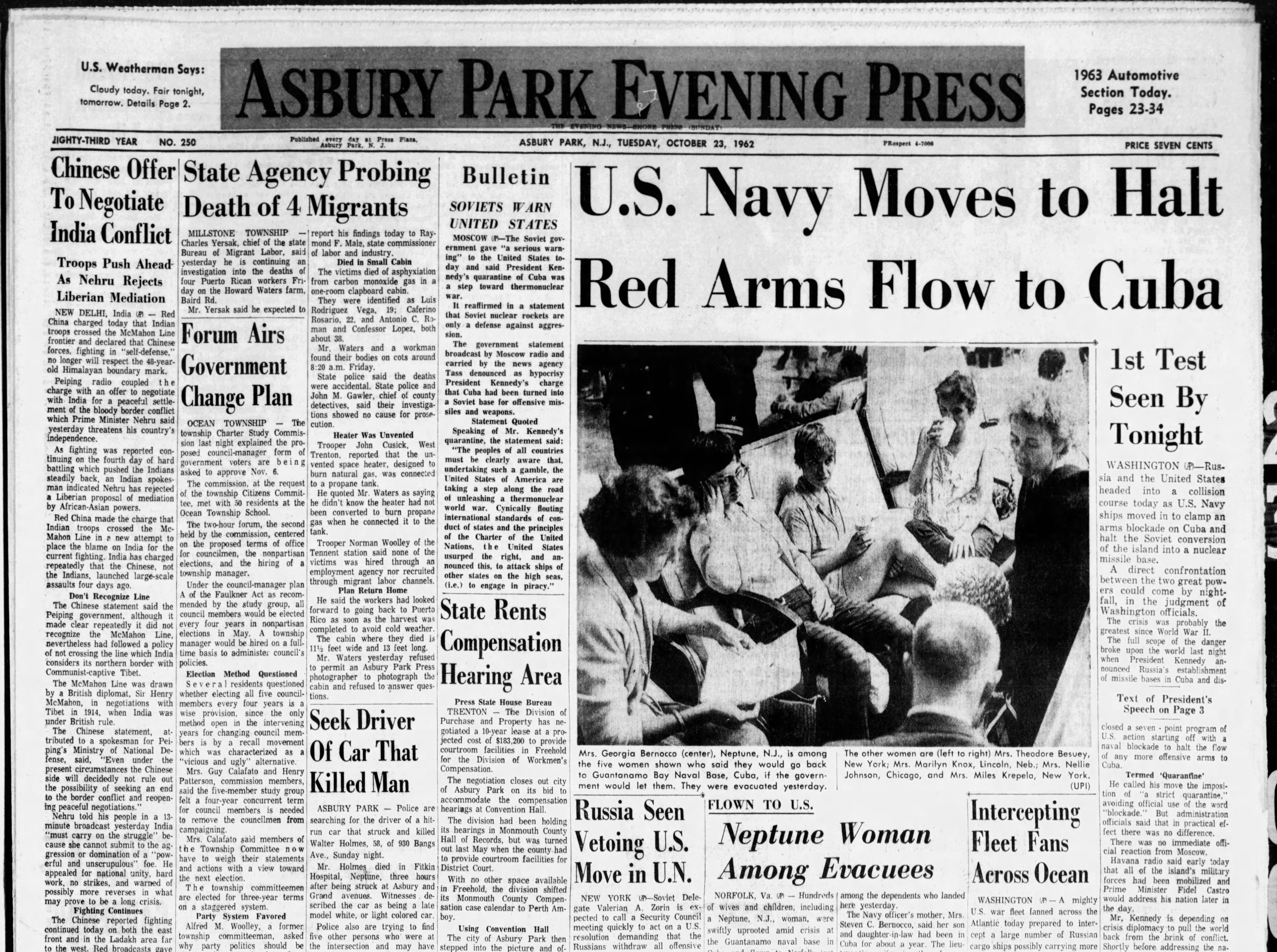 The Cuban Missile Crisis brings human civilization to the brink of World War III and nuclear annihilation. The Asbury Park Press covers the local impact to the Jersey Shore in this edition from Tuesday, Oct. 23, 1962.