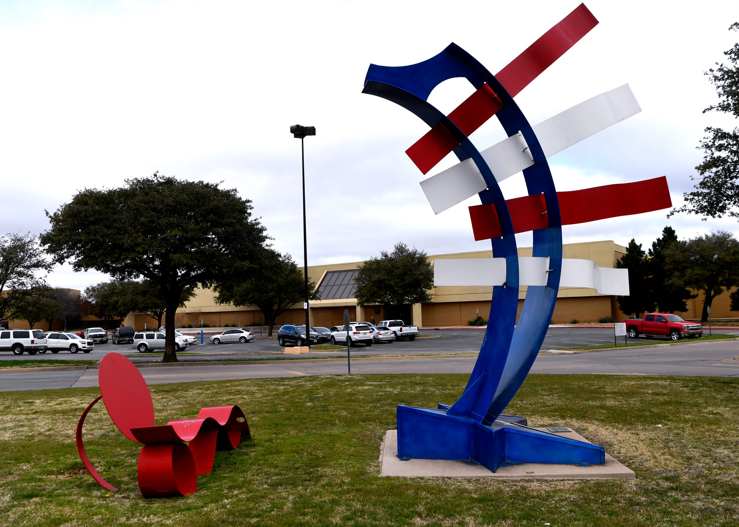 A patriotic sculpture by Nic Noblique stands at the corner of the Mall of Abilene property along Buffalo Gap Road.