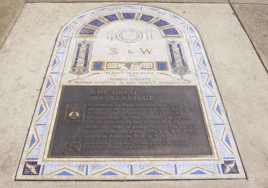"""""""Art Deco Masterpiece,"""" the 7th stop on the Asheville Urban Trail, will remain in storage for now. It used to be on the sidewalk on Haywood Street in front of the Wells Fargo Bank building."""