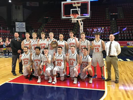 Marathon's boys defeated Bridgehamton, 65-60 Sunday in a Class D state quartefinal at Floyd L. Maines Veterans Memorial Arena.