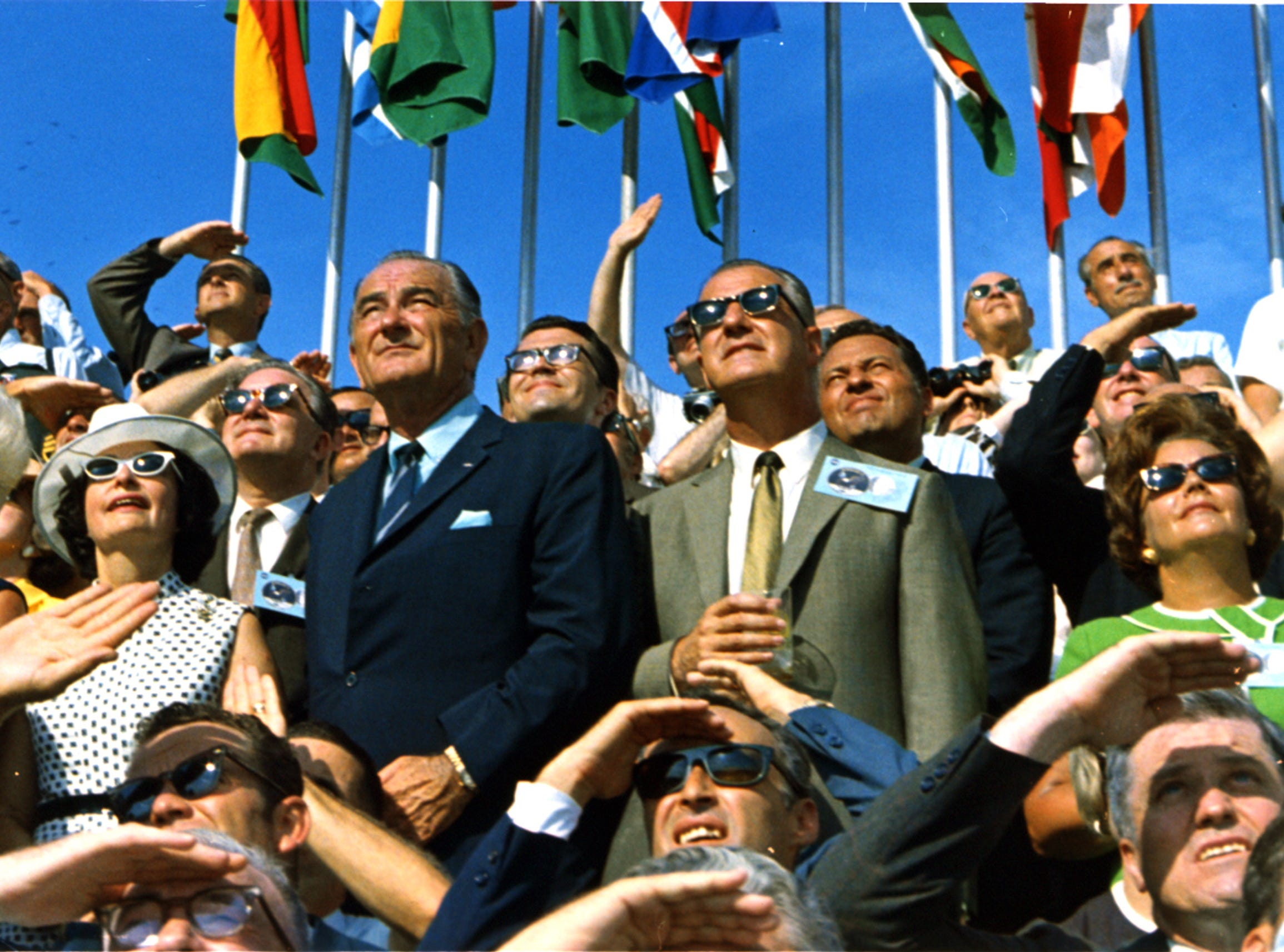 Former President Lyndon B. Johnson and then-current Vice President Spiro Agnew are among the spectators at the launch of Apollo 11, which lifted off from Pad 39A at Kennedy Space Center at 9:32 am EDT on July 16, 1969. The crew, the first of the Apollo missions to land on the moon, safely returned to Earth on 37 years ago this week on July 24, 1969