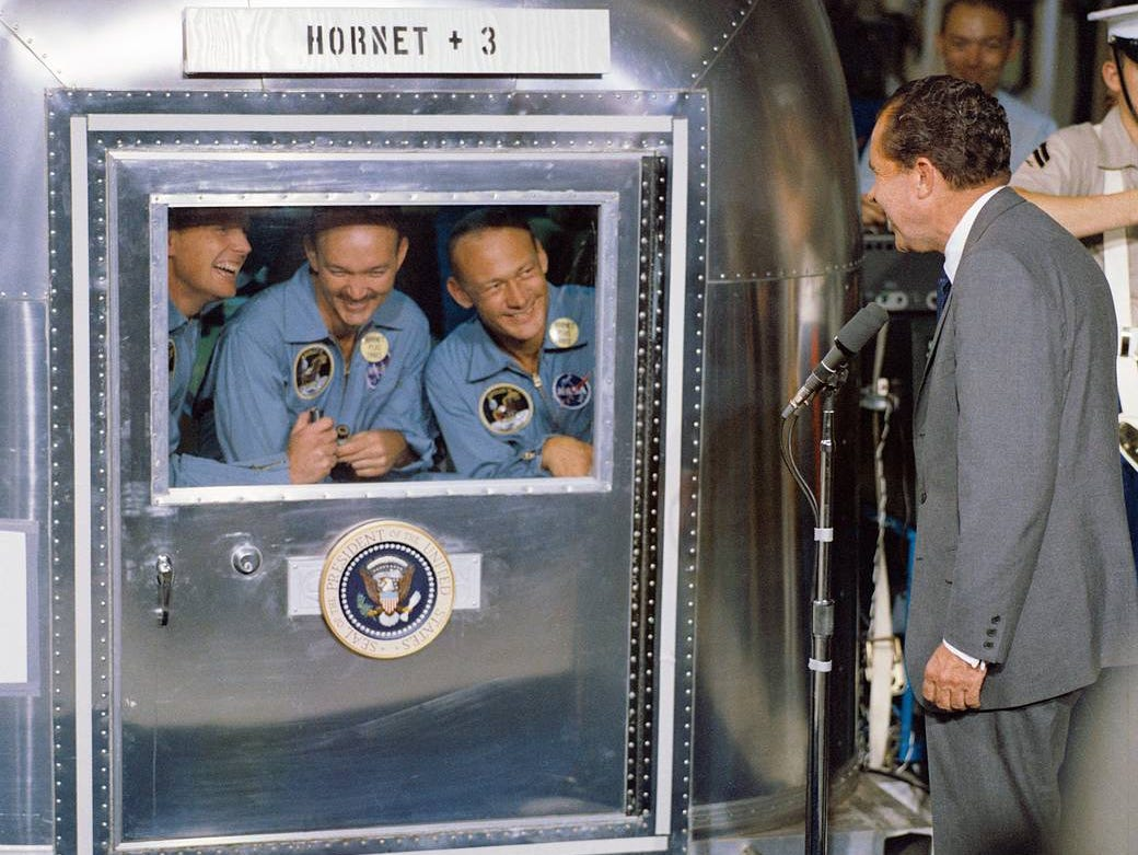 President Richard M. Nixon was in the central Pacific recovery area to welcome the Apollo 11 astronauts aboard the USS Hornet, prime recovery ship for the historic Apollo 11 lunar landing mission.