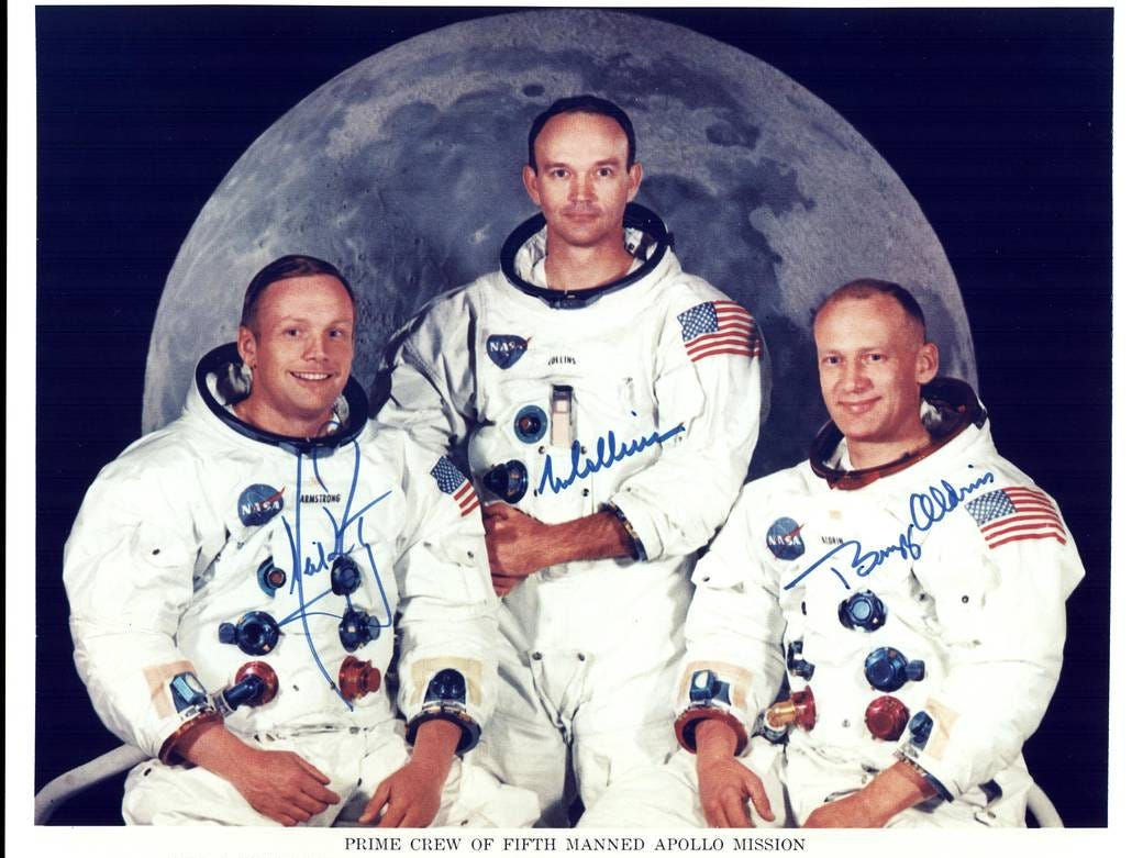 Official crew photo of the Apollo 11 Prime Crew. From left to right are astronauts Neil A. Armstrong, Commander; Michael Collins, Command Module Pilot; and Edwin E. Aldrin Jr., Lunar Module Pilot.