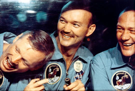 On July 24, 1969, the Apollo 11 crew splashed down in the Pacific Ocean.