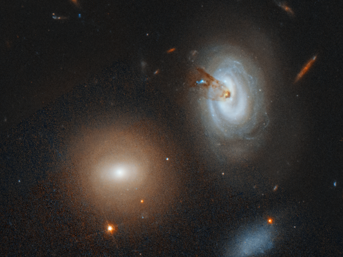 Jan. 24, 2019: Two's company and three's a crowd. But thousands are a mosh pit. That's the case in the giant Coma cluster of more than 1,000 galaxies.  Hubble spotted a wayward spiral galaxy losing its gas as it plunges toward the center of the massive cluster and is roughed up as it plows through the intergalactic medium. Telltale evidence lies in a long, thin streamer of material that is stretching like taffy from the galaxy's core and on into intergalactic space. Gas is the lifeblood of a galaxy, fueling the birth of new stars. Once it is stripped of all of its gas, the galaxy, named D100, will enter retirement and shine only by the feeble glow of its aging, red stars.