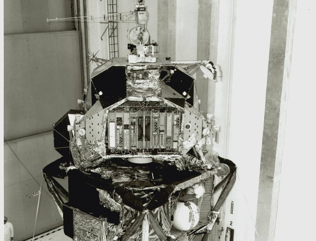 The Lunar Module for Apollo 11 moves from the landing gear fixture and mate to the spacecraft-lunar module adapter.