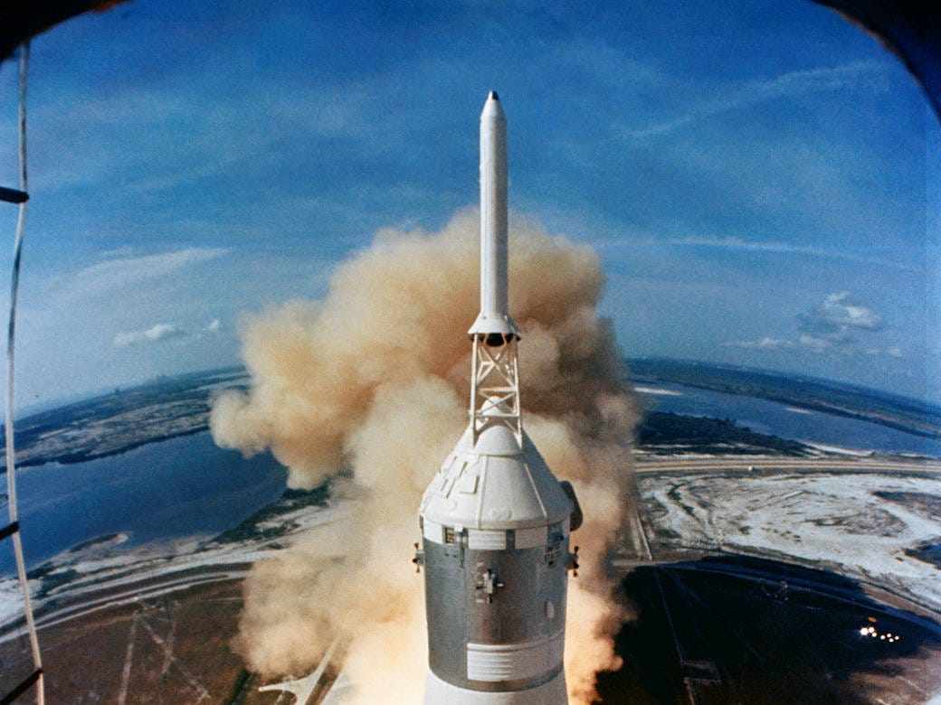On July 16, 1969, the huge, 363-feet tall Saturn V rocket launches on the Apollo 11 mission from Pad A, Launch Complex 39, Kennedy Space Center, at 9:32 a.m. EDT.