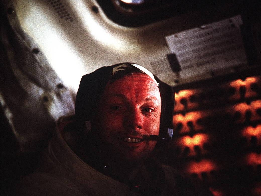 This photograph of Neil Armstrong, Apollo 11 commander, was taken inside the Lunar Module (LM) while the LM rested on the lunar surface.