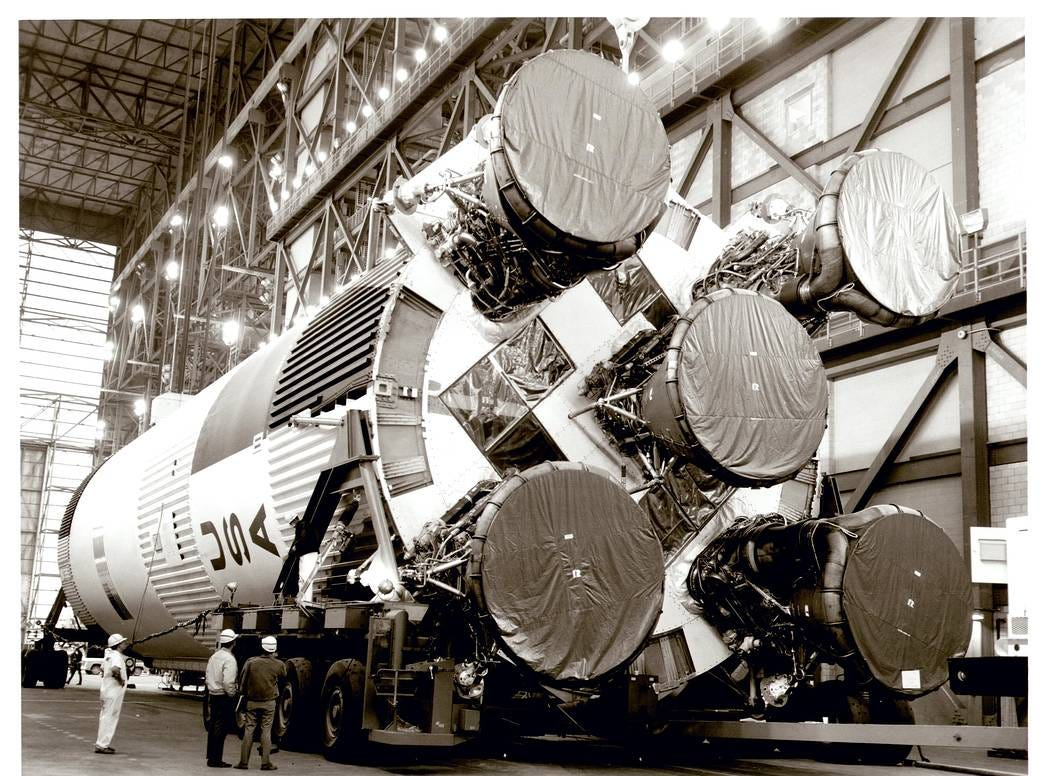 March 1, 1968, the Saturn S-IC-6 arrived at the Mississippi Test Facility -- today's NASA Stennis Space Center -- from the Michoud Assembly Facility.