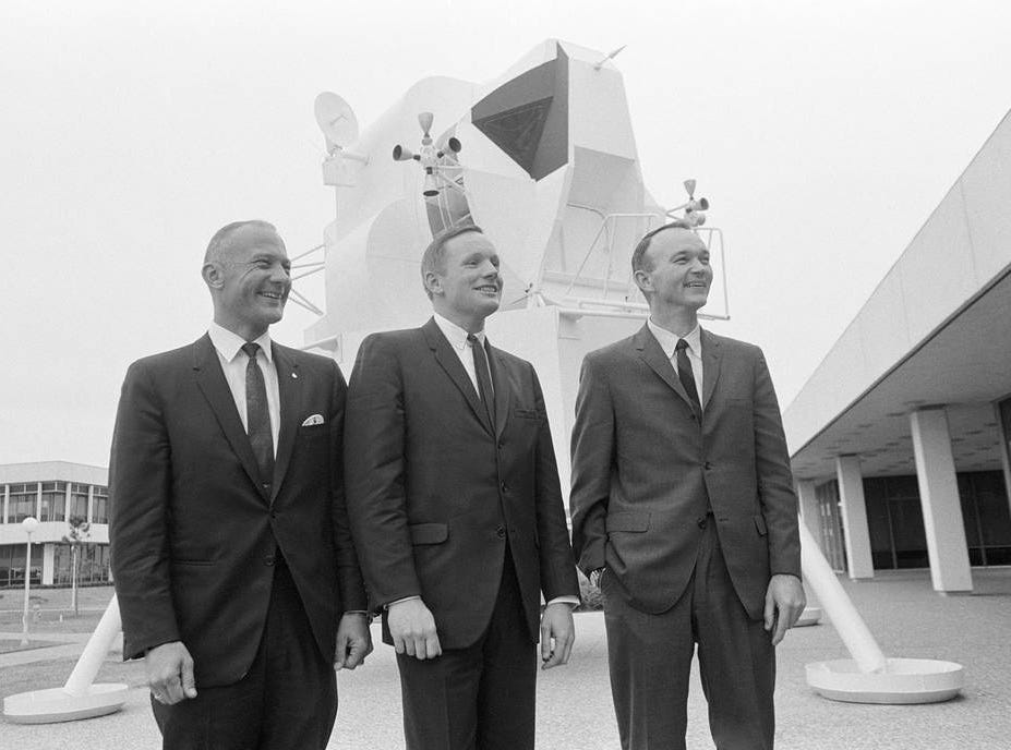 On Jan. 9, 1969, NASA announced the prime crew of the Apollo 11 lunar landing mission. This portrait was taken on Jan. 10, the day after the announcement of the crew assignment. From left to right are lunar module pilot Buzz Aldrin, commander Neil Armstrong; and command module pilot Michael Collins.