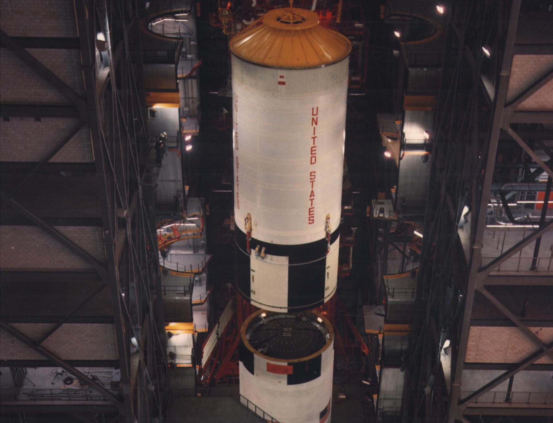 This image, taken on March 4, 1969, shows the stacking of the S-II stage for the Saturn 506 in the Kennedy Space Center's Vehicle Assembly Building in preparation for the Apollo 11 launch. On July 16, 1969, the Apollo 11 mission lifted off for humanity's first visit to another celestial body.