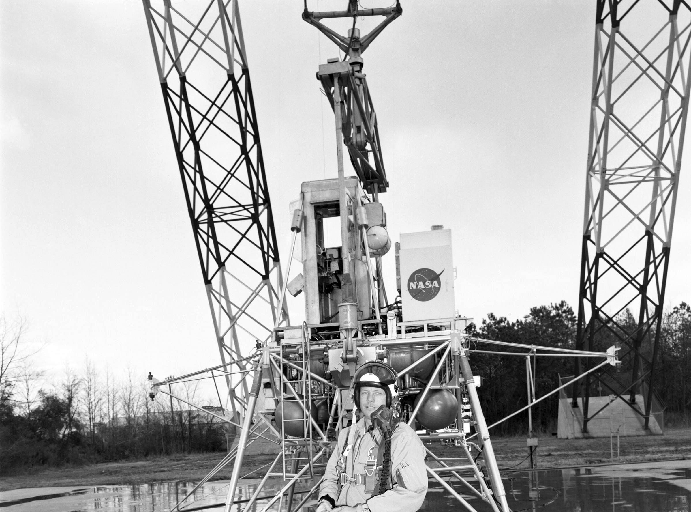Neil Armstrong trained for the historic Apollo 11 mission at the Lunar Landing Research Facility. This picture was taken in February 1969 - just five months before Armstrong would become the first person to set foot on the surface of the moon.