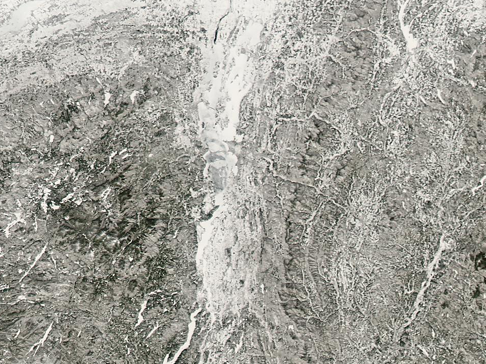 Lake Champlain appears to be mostly frozen in this NASA satellite photograph taken March 9, 2019.