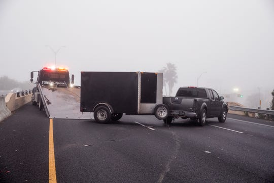 A single-vehicle accident closed the southbound lanes of Highway 286 Monday, March 11, 2019. Police said the heavy fog was partially to blame for the accident.