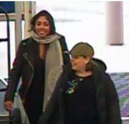 These two women are being sought in connection with stealing a woman's wallet while she shopped in a Marlton store, then using her credit cards for a spending spree.