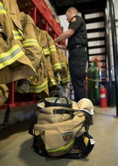 The firefighters make sure to have their gear out and ready to be dressed in case an emergency is called into the Huntington Township fire department.