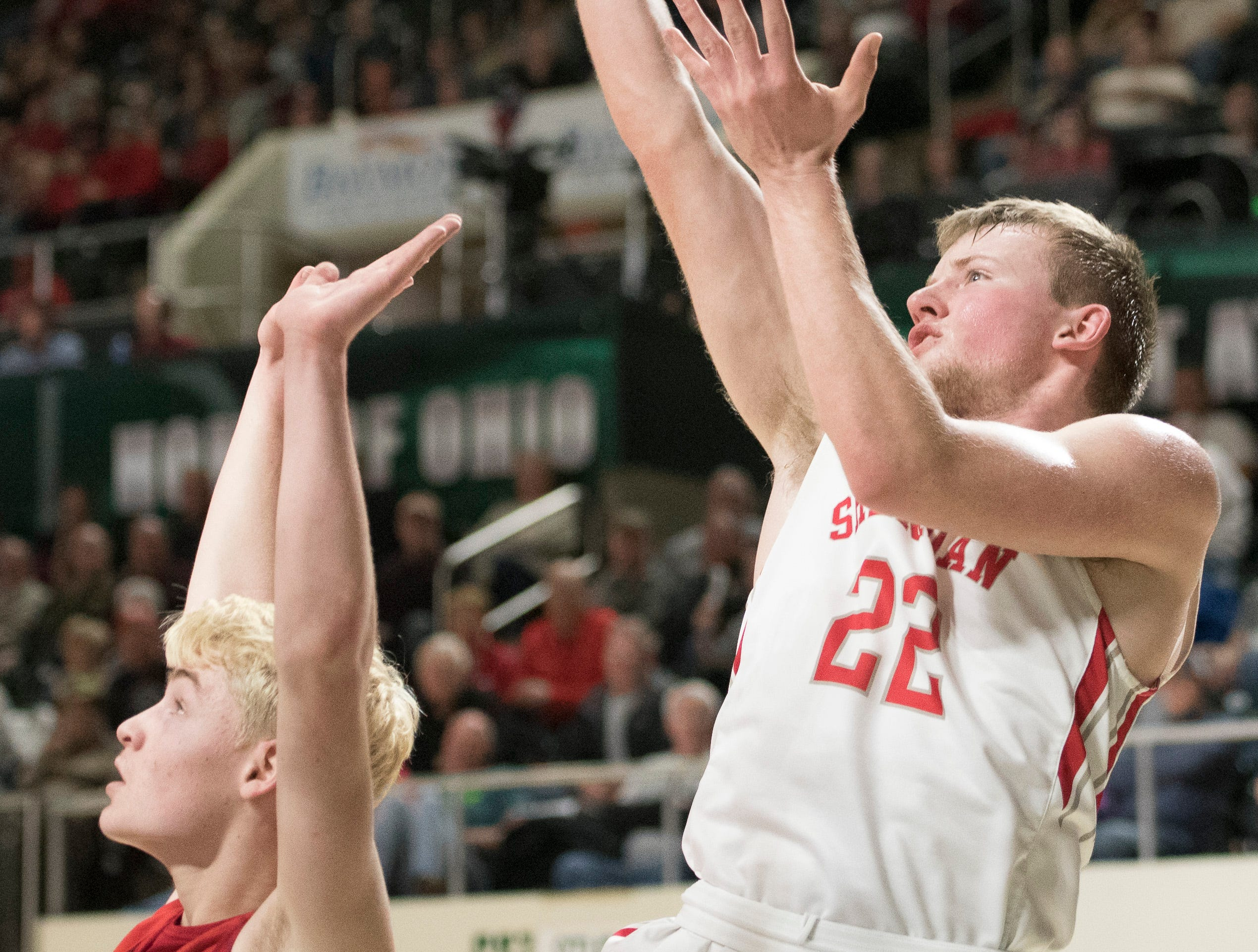 Sheridan defeated Jackson 59-44 Sunday night in a Division II district final game at Ohio University's Convocation Center in Athens, Ohio, on March 10, 2019.